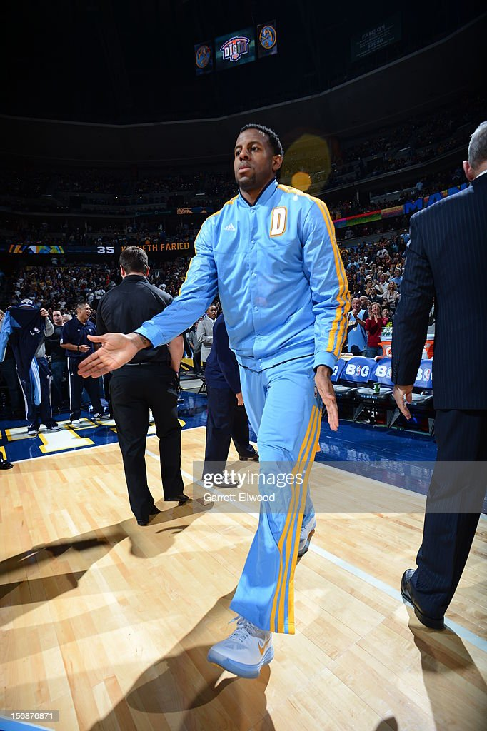 <a gi-track='captionPersonalityLinkClicked' href=/galleries/search?phrase=Andre+Iguodala&family=editorial&specificpeople=201980 ng-click='$event.stopPropagation()'>Andre Iguodala</a> #9 of the Denver Nuggets announced before the game against the Miami Heat on November 15, 2012 at the Pepsi Center in Denver, Colorado.