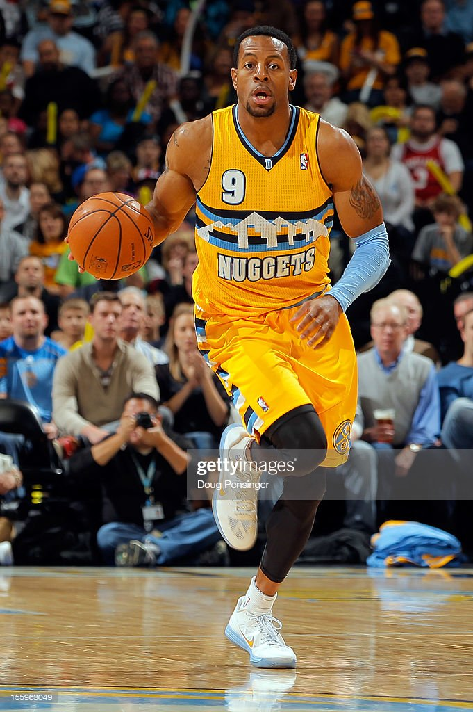 <a gi-track='captionPersonalityLinkClicked' href=/galleries/search?phrase=Andre+Iguodala&family=editorial&specificpeople=201980 ng-click='$event.stopPropagation()'>Andre Iguodala</a> #9 of the Denver Nuggets controls the ball against the Utah Jazz at the Pepsi Center on November 9, 2012 in Denver, Colorado. The Nuggets defeated the Jazz 104-84.