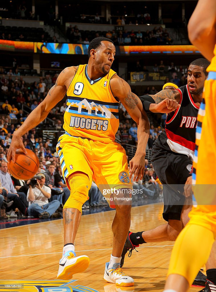 Andre Iguodala #9 of the Denver Nuggets controls the ball against the Portland Trail Blazers at the Pepsi Center on January 15, 2013 in Denver, Colorado. The Nuggets defeated the Trail Blazers 115-111 in overtime.