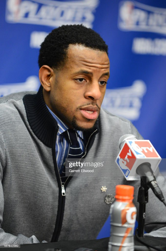 <a gi-track='captionPersonalityLinkClicked' href=/galleries/search?phrase=Andre+Iguodala&family=editorial&specificpeople=201980 ng-click='$event.stopPropagation()'>Andre Iguodala</a> #9 of the Denver Nuggets does his post game press conference after Game Five of the Western Conference Quarterfinals against the Golden State Warriors. During the 2013 NBA Playoffs on April 30, 2013 at the Pepsi Center in Denver, Colorado.