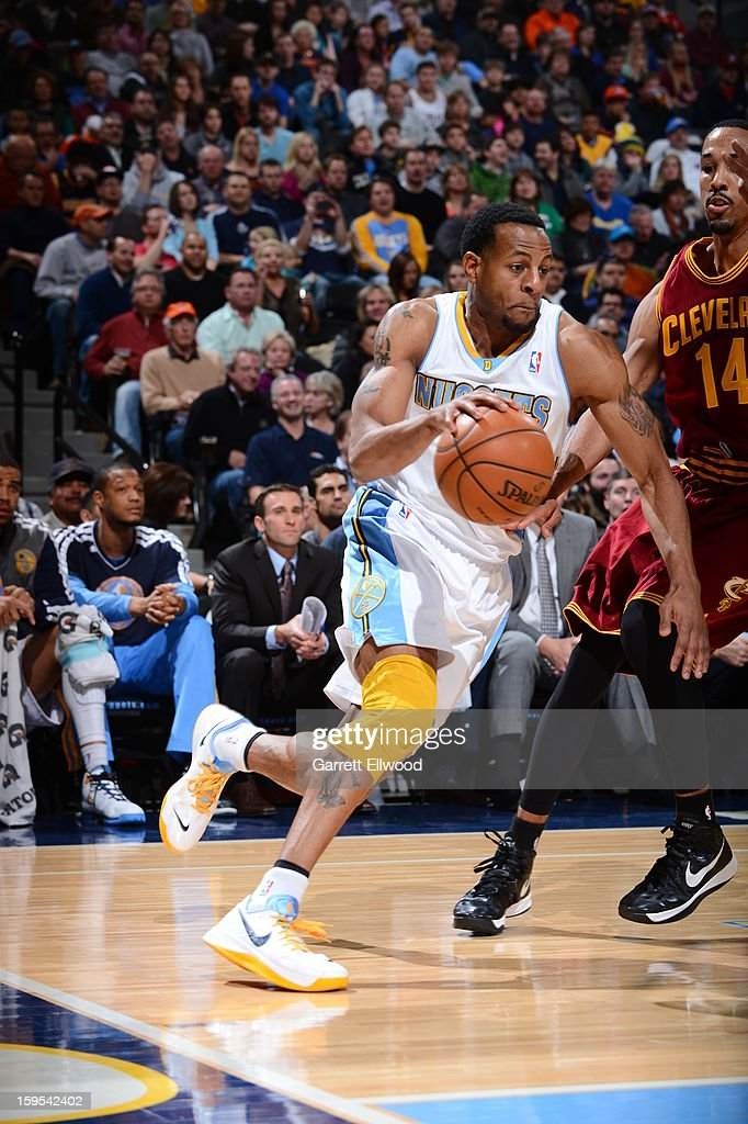 Andre Iguodala #9 of the Denver Nuggets drives to the basket against the Cleveland Cavaliers on January 11, 2013 at the Pepsi Center in Denver, Colorado.