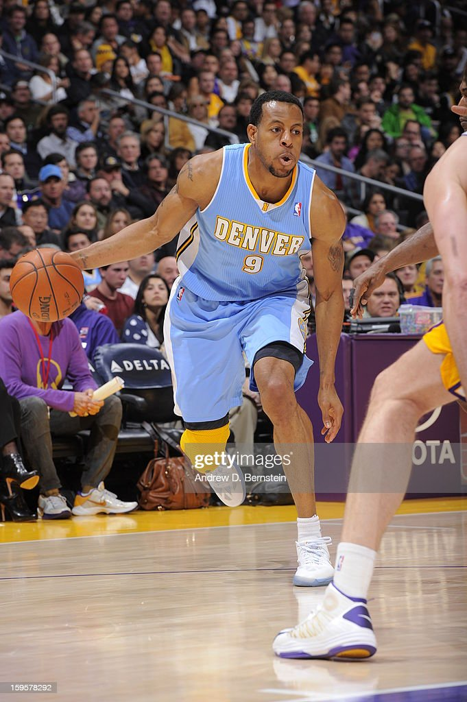<a gi-track='captionPersonalityLinkClicked' href=/galleries/search?phrase=Andre+Iguodala&family=editorial&specificpeople=201980 ng-click='$event.stopPropagation()'>Andre Iguodala</a> #9 of the Denver Nuggets drives to the basket against the Los Angeles Lakers at Staples Center on January 6, 2013 in Los Angeles, California.