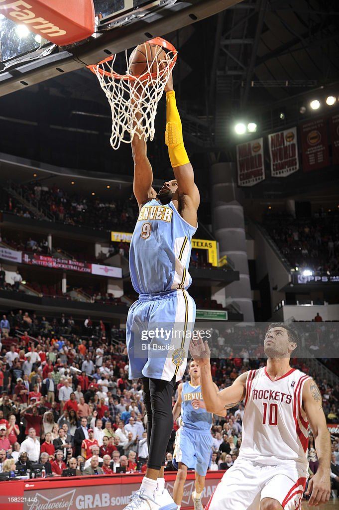 Andre Iguodala #9 of the Denver Nuggets dunks the ball against the Houston Rockets on November 7, 2012 at the Toyota Center in Houston, Texas.