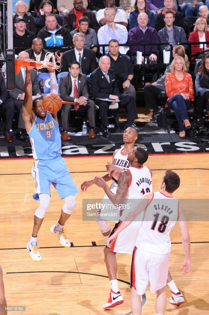 <a gi-track='captionPersonalityLinkClicked' href=/galleries/search?phrase=Andre+Iguodala&family=editorial&specificpeople=201980 ng-click='$event.stopPropagation()'>Andre Iguodala</a> #9 of the Denver Nuggets dunks the ball against the Portland Trail Blazers on February 27, 2013 at the Rose Garden Arena in Portland, Oregon.