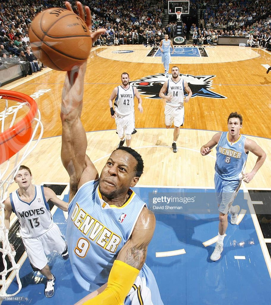 Andre Iguodala #9 of the Denver Nuggets goes to the basket during the game between the Minnesota Timberwolves and the Denver Nuggets on November 21, 2012 at Target Center in Minneapolis, Minnesota.