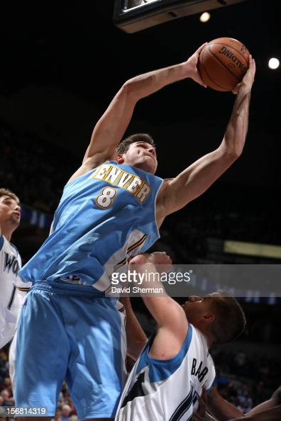 Andre Iguodala of the Denver Nuggets goes to the basket during the game between the Minnesota Timberwolves and the Denver Nuggets on November 21 2012...