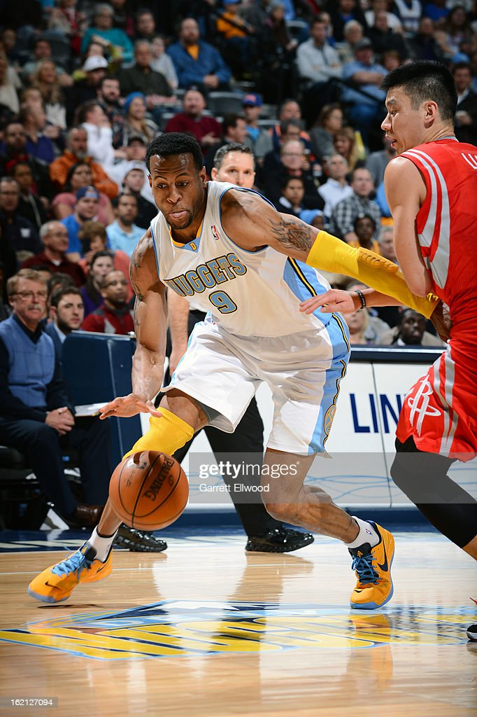 Andre Iguodala #9 of the Denver Nuggets handles the ball against Jeremy Lin #7 of the Houston Rockets on January 30, 2013 at the Pepsi Center in Denver, Colorado.