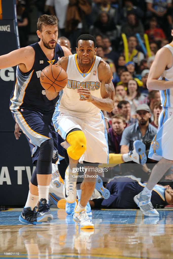 <a gi-track='captionPersonalityLinkClicked' href=/galleries/search?phrase=Andre+Iguodala&family=editorial&specificpeople=201980 ng-click='$event.stopPropagation()'>Andre Iguodala</a> #9 of the Denver Nuggets handles the ball against the Memphis Grizzlies on December 14, 2012 at the Pepsi Center in Denver, Colorado.