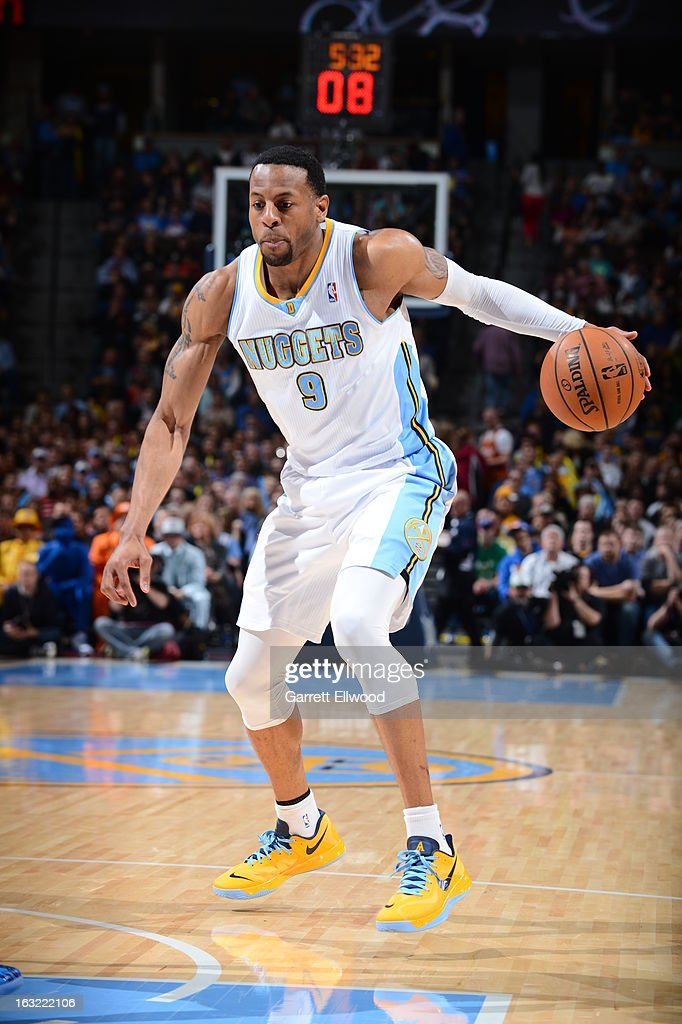 <a gi-track='captionPersonalityLinkClicked' href=/galleries/search?phrase=Andre+Iguodala&family=editorial&specificpeople=201980 ng-click='$event.stopPropagation()'>Andre Iguodala</a> #9 of the Denver Nuggets looks to drive to the basket against the Oklahoma City Thunder on March 1, 2013 at the Pepsi Center in Denver, Colorado.