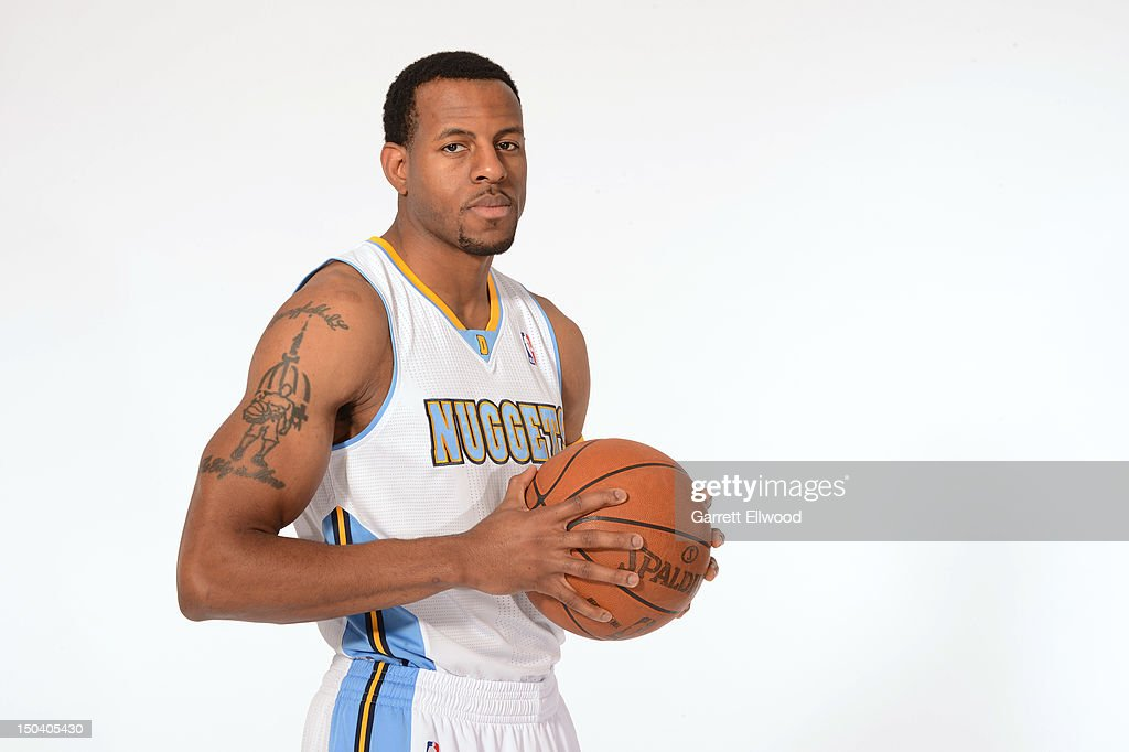 <a gi-track='captionPersonalityLinkClicked' href=/galleries/search?phrase=Andre+Iguodala&family=editorial&specificpeople=201980 ng-click='$event.stopPropagation()'>Andre Iguodala</a> #9 of the Denver Nuggets poses for a portrait following a press conference on August 16, 2012 at the Pepsi Center in Denver, Colorado.