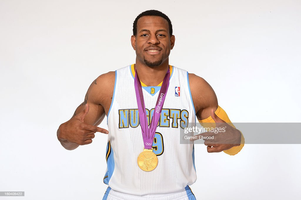 <a gi-track='captionPersonalityLinkClicked' href=/galleries/search?phrase=Andre+Iguodala&family=editorial&specificpeople=201980 ng-click='$event.stopPropagation()'>Andre Iguodala</a> #9 of the Denver Nuggets poses for a portrait with his gold medal from the 2012 London Olympic Games following a press conference on August 16, 2012 at the Pepsi Center in Denver, Colorado.