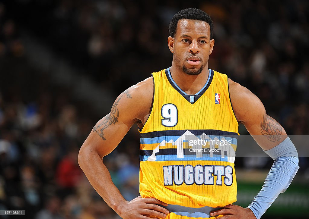 Andre Iguodala #9 of the Denver Nuggets rests during a stoppage in play against the Toronto Raptors versus on December 3, 2012 at the Pepsi Center in Denver, Colorado.