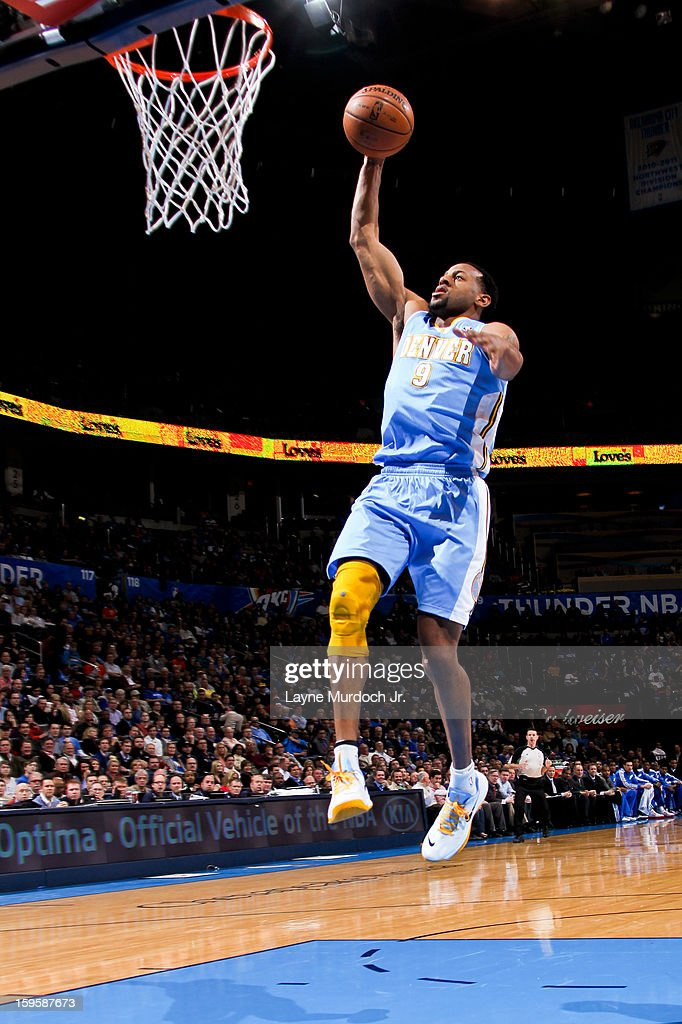 Andre Iguodala #9 of the Denver Nuggets rises for a dunk against the Oklahoma City Thunder on January 16, 2013 at the Chesapeake Energy Arena in Oklahoma City, Oklahoma.