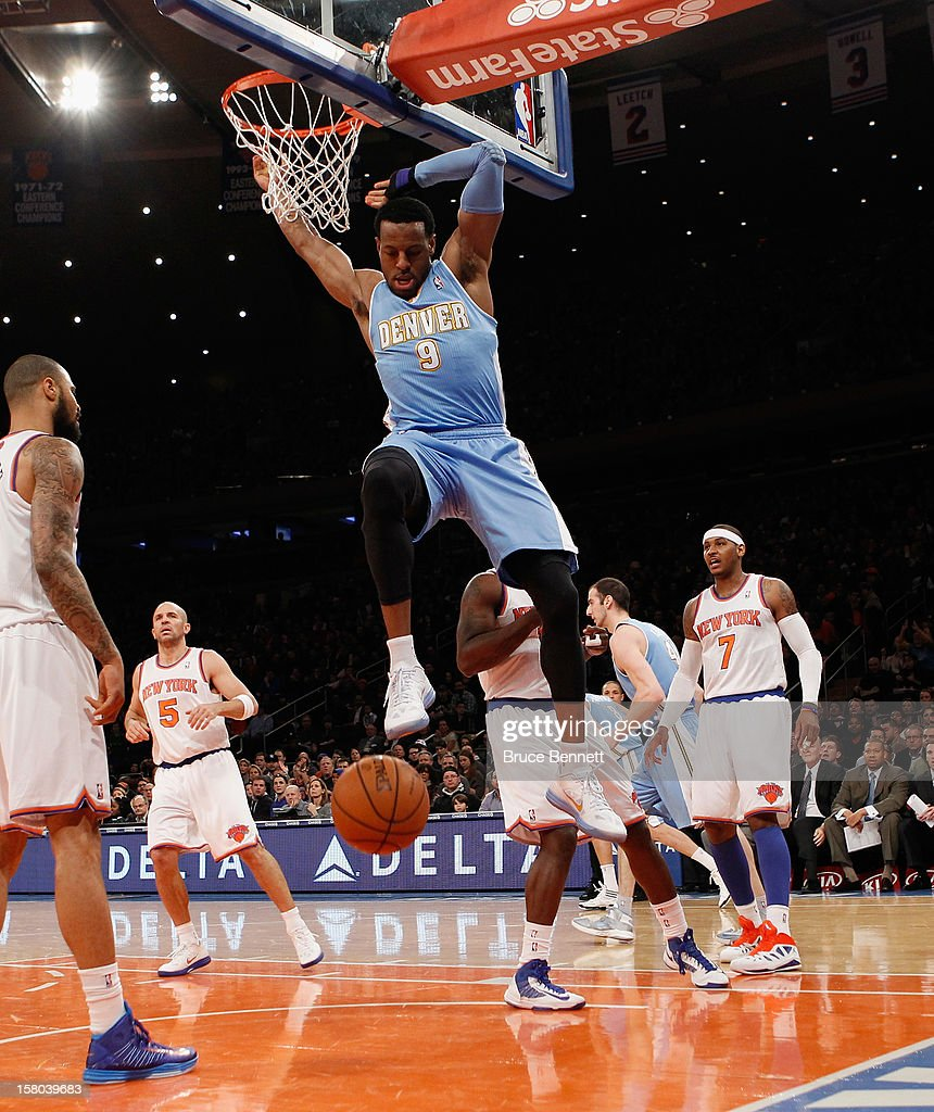 Andre Iguodala #9 of the Denver Nuggets scores a basket in the first quarter against the New York Knicks at Madison Square Garden on December 9, 2012 in New York City.