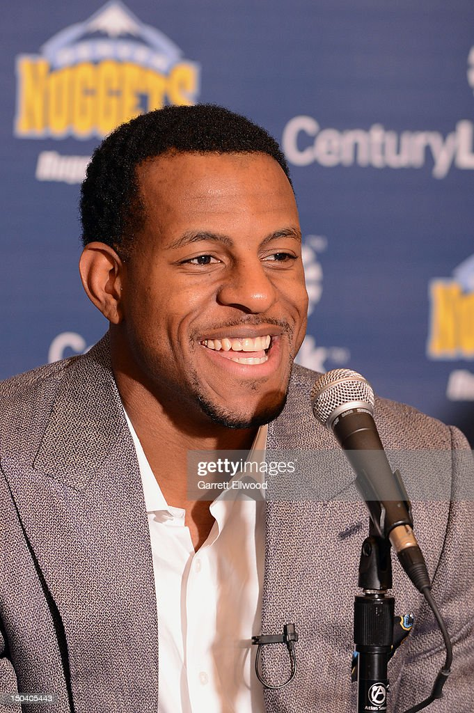 <a gi-track='captionPersonalityLinkClicked' href=/galleries/search?phrase=Andre+Iguodala&family=editorial&specificpeople=201980 ng-click='$event.stopPropagation()'>Andre Iguodala</a> #9 of the Denver Nuggets speaks to the media during a press conference on August 16, 2012 at the Pepsi Center in Denver, Colorado.