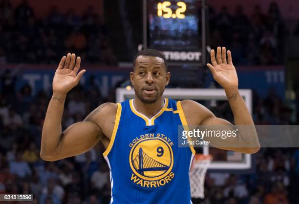 Andre Iguodala of the Golden State Warriors argues a penalty call against the Oklahoma City Thunder during the second half of a NBA game at the...
