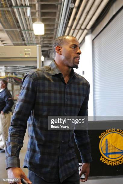 Andre Iguodala of the Golden State Warriors arrives at the arena before Game Five of the 2017 NBA Finals against the Cleveland Cavaliers on June 12...