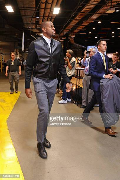 Andre Iguodala of the Golden State Warriors arrives before Game Four of the 2016 NBA Finals against the Cleveland Cavaliers at The Quicken Loans...