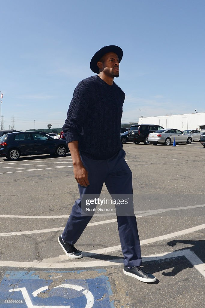 <a gi-track='captionPersonalityLinkClicked' href=/galleries/search?phrase=Andre+Iguodala&family=editorial&specificpeople=201980 ng-click='$event.stopPropagation()'>Andre Iguodala</a> #9 of the Golden State Warriors arrives before the game against the Oklahoma City Thunder in Game Seven of the Western Conference Finals during the 2016 NBA Playoffs on May 30, 2016 at ORACLE Arena in Oakland, California.