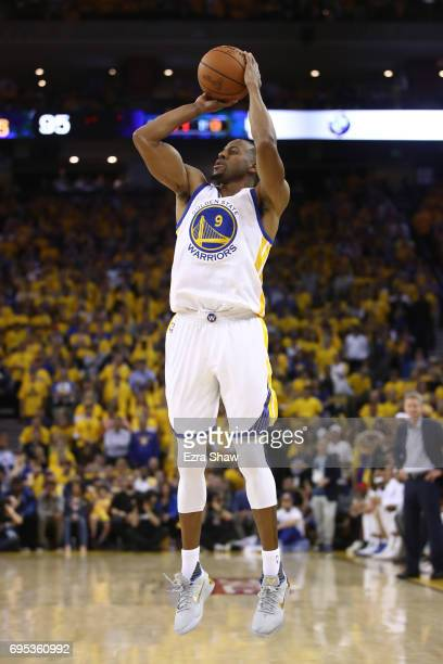 Andre Iguodala of the Golden State Warriors attempts a shot against the Cleveland Cavaliers during the second half in Game 5 of the 2017 NBA Finals...