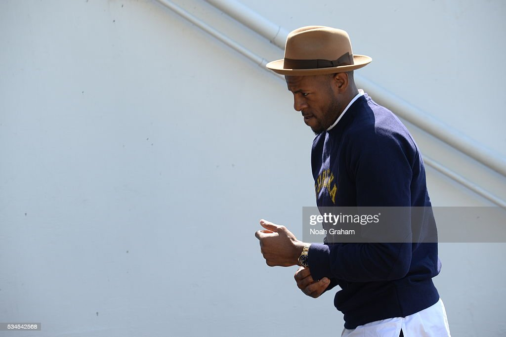 <a gi-track='captionPersonalityLinkClicked' href=/galleries/search?phrase=Andre+Iguodala&family=editorial&specificpeople=201980 ng-click='$event.stopPropagation()'>Andre Iguodala</a> #9 of the Golden State Warriors before facing the Oklahoma City Thunder for Game Five of the Western Conference Finals during the 2016 NBA Playoffs on May 26, 2016 at ORACLE Arena in Oakland, California.
