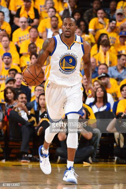 Andre Iguodala of the Golden State Warriors brings the ball up court during the game against the Utah Jazz during Game Two of the Western Conference...