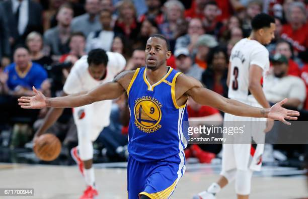 Andre Iguodala of the Golden State Warriors celebrates a dunk against the Portland Trail Blazers during Game Three of the Western Conference...