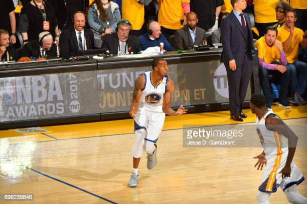 Andre Iguodala of the Golden State Warriors celebrates a three point basket in Game Five of the 2017 NBA Finals against the Cleveland Cavaliers on...
