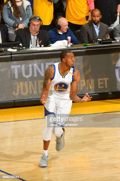 Andre Iguodala of the Golden State Warriors celebrates after hitting a three pointer against the Cleveland Cavaliers in Game Five of the 2017 NBA...