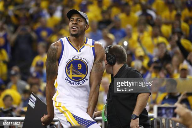 Andre Iguodala of the Golden State Warriors celebrates after defeating the Cleveland Cavaliers 129120 in Game 5 to win the 2017 NBA Finals at ORACLE...