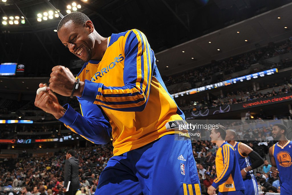 Andre Iguodala #9 of the Golden State Warriors celebrates during a game against the Denver Nuggets on April 16, 2014 at the Pepsi Center in Denver, Colorado.