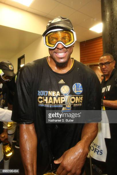 Andre Iguodala of the Golden State Warriors celebrates in the locker room after winning the NBA Championsip in Game Five of the 2017 NBA Finals...