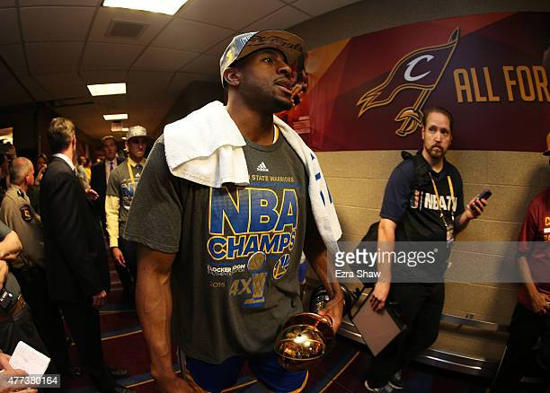 Andre Iguodala of the Golden State Warriors celebrates their win over the Cleveland Cavaliers in Game Six of the 2015 NBA Finals at Quicken Loans...
