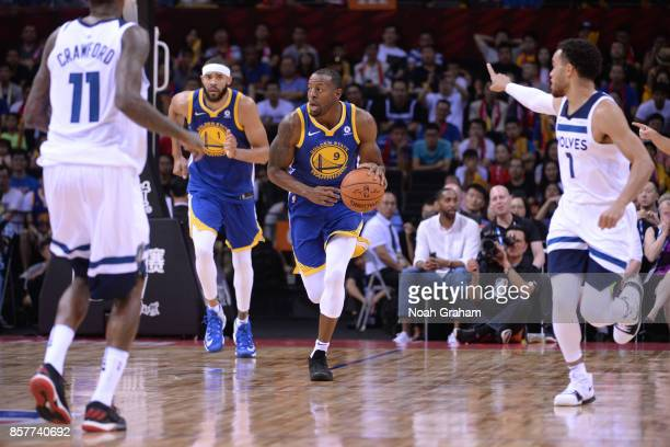 Andre Iguodala of the Golden State Warriors dribbles the ball against the Minnesota Timberwolves as part of 2017 NBA Global Games China on October 5...