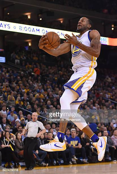 Andre Iguodala of the Golden State Warriors drives to the basket against the Utah Jazz during their NBA basketball game at ORACLE Arena on December...
