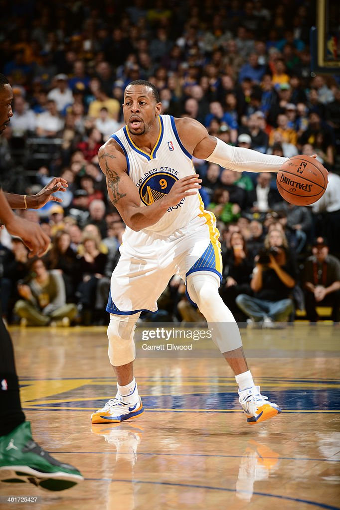 <a gi-track='captionPersonalityLinkClicked' href=/galleries/search?phrase=Andre+Iguodala&family=editorial&specificpeople=201980 ng-click='$event.stopPropagation()'>Andre Iguodala</a> #9 of the Golden State Warriors drives towards the hoop against the Boston Celtics on January 10, 2014 at Oracle Arena in Oakland, California.