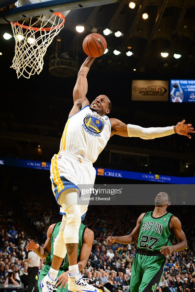 <a gi-track='captionPersonalityLinkClicked' href=/galleries/search?phrase=Andre+Iguodala&family=editorial&specificpeople=201980 ng-click='$event.stopPropagation()'>Andre Iguodala</a> #9 of the Golden State Warriors dunks against the Boston Celtics on January 10, 2014 at Oracle Arena in Oakland, California.