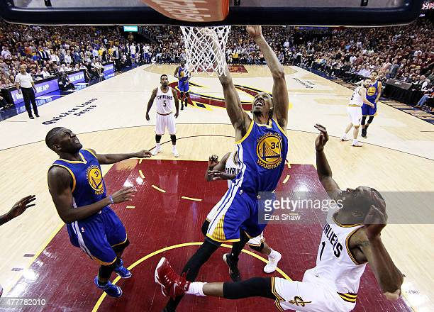 Andre Iguodala of the Golden State Warriors dunks against the Cleveland Cavaliers during Game Six of the 2015 NBA Finals at Quicken Loans Arena on...