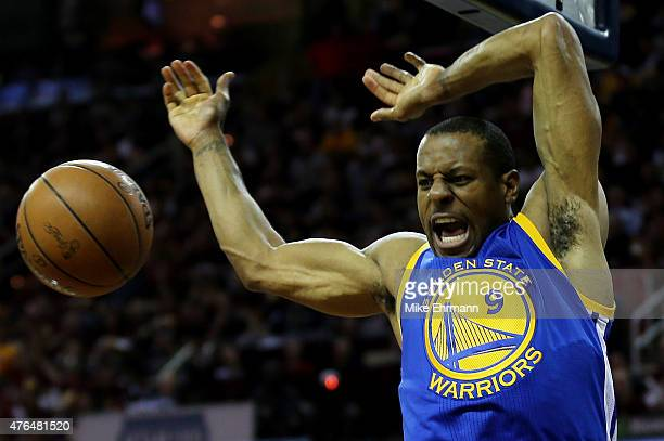 Andre Iguodala of the Golden State Warriors dunks against the Cleveland Cavaliers in the second quarter during Game Three of the 2015 NBA Finals at...
