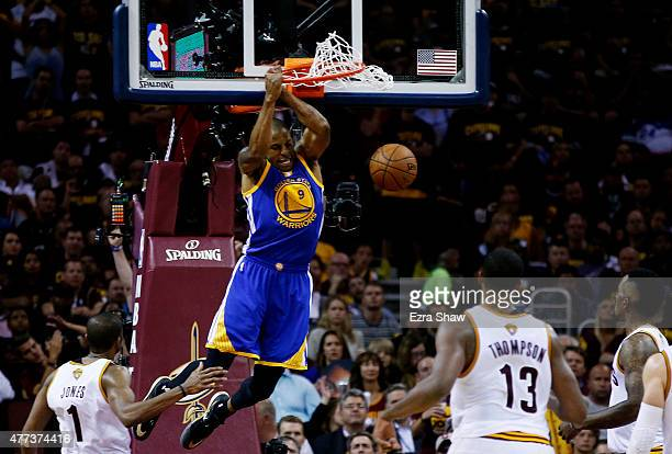 Andre Iguodala of the Golden State Warriors dunks against the Cleveland Cavaliers in the third quarter during Game Six of the 2015 NBA Finals at...