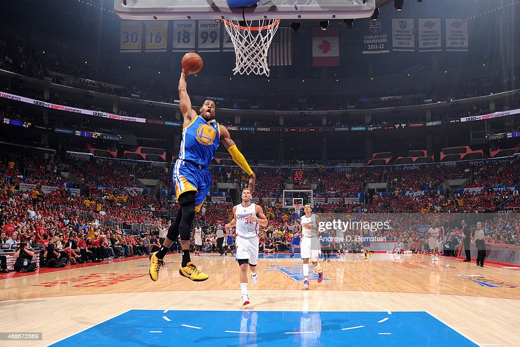 <a gi-track='captionPersonalityLinkClicked' href=/galleries/search?phrase=Andre+Iguodala&family=editorial&specificpeople=201980 ng-click='$event.stopPropagation()'>Andre Iguodala</a> #9 of the Golden State Warriors dunks against the Los Angeles Clippers in Game Seven of the Western Conference Quarterfinals during the 2014 NBA Playoffs at Staples Center on May 3, 2014 in Los Angeles, California.