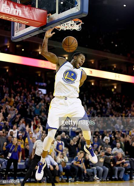 Andre Iguodala of the Golden State Warriors dunks the ball against the Miami Heat at ORACLE Arena on January 10 2017 in Oakland California NOTE TO...