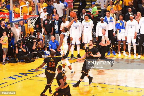 Andre Iguodala of the Golden State Warriors dunks the ball against the Cleveland Cavaliers in Game Five of the 2017 NBA Finals on June 12 2017 at...