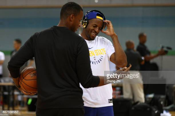 Andre Iguodala of the Golden State Warriors during practice at Shenzhen Gymnasium as part of 2017 NBA Global Games China on October 4 2017 in...