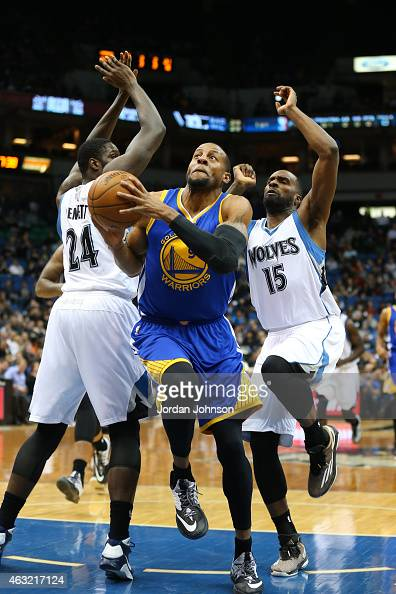 Andre Iguodala of the Golden State Warriors goes for the layup against the Minnesota Timberwolvesduring the game on February 11 2015 at Target...
