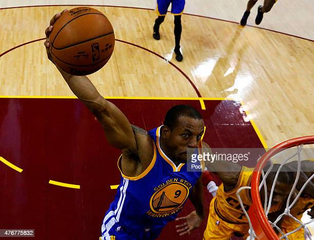 Andre Iguodala of the Golden State Warriors goes up against the Cleveland Cavaliers in the first half during Game Four of the 2015 NBA Finals at...