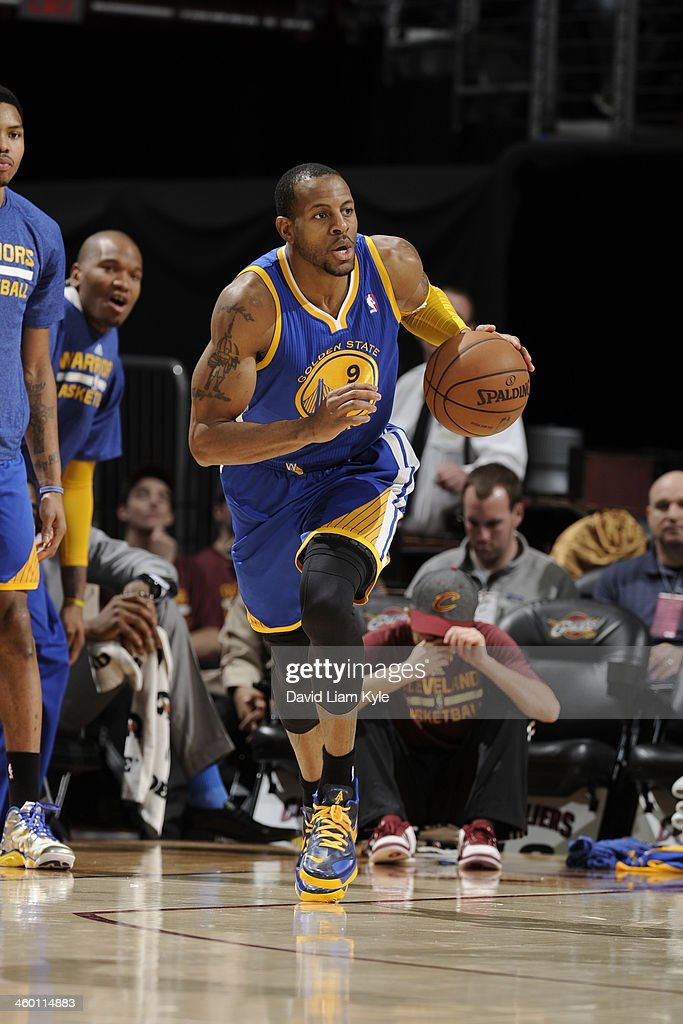 <a gi-track='captionPersonalityLinkClicked' href=/galleries/search?phrase=Andre+Iguodala&family=editorial&specificpeople=201980 ng-click='$event.stopPropagation()'>Andre Iguodala</a> #9 of the Golden State Warriors handles the ball against the Cleveland Cavaliers at The Quicken Loans Arena on December 29, 2013 in Cleveland, Ohio.