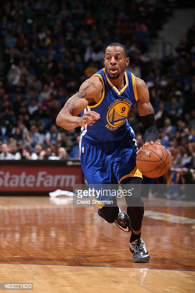 Andre Iguodala of the Golden State Warriors handles the ball against the Minnesota Timberwolves during the game on February 11 2015 at Target Center...
