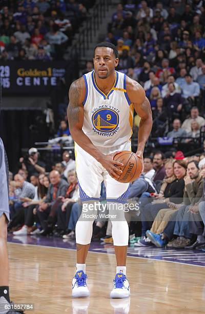 Andre Iguodala of the Golden State Warriors handles the ball against the Sacramento Kings on Bollywood night on January 8 2017 at Golden 1 Center in...