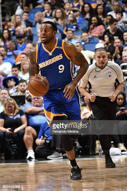 Andre Iguodala of the Golden State Warriors handles the ball against the Orlando Magic on January 22 2017 at Amway Center in Orlando Florida NOTE TO...